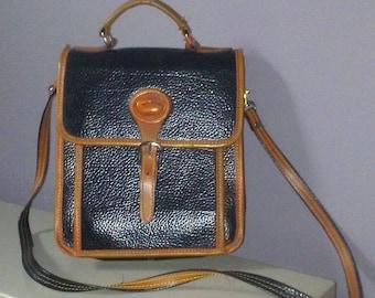 Vintage Black & Brown Leather Dooney and Bourke Crossbody Purse