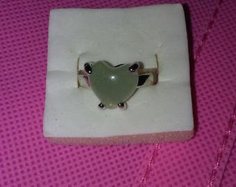 Size 7 Silver Plated Ring With a Sage Green Heart Shaped Stone