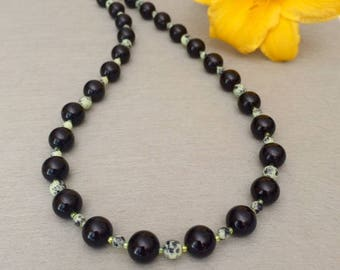 Agate Bead Necklace Black Agate Necklace Agate Gemstone Necklace Black Necklace Black Beaded Necklace Black Green Necklace Wife Gift For Her