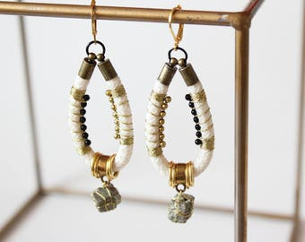 Big drop earrings/White rope earrings/Golg and white earrings/Dangle earrings/Pyrite earrings/Gift fot her/Valentines gift
