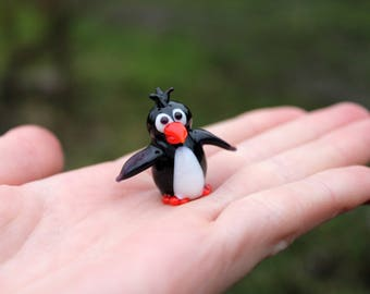 Glass penguin figurine blown black penguin animals glass miniature toy murano black penguin animals tiny small gifts figure glass toys for