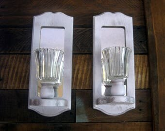 Shabby White Wall Sconces With Mirrors and Glass Globe Candle Holders. Up Cycled Distressed Wall Sconce Set.