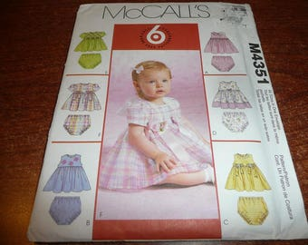 McCall's 4351 Infants Dress & Panties Uncut Sewing Pattern