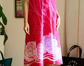 Ginger dress, Pink Rose,hawaiian fabric,HNLS02612-74610