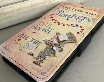 Alice in Wonderland iPhone Samsung Leather Wallet Flip Case Cover Mad Hatter Bonkers