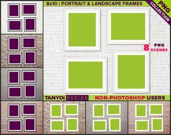 8x10 Set of 4 White Black Frames | 8 PNG Interior Wall Scenes 810-CW3 | Portrait Landscape frames | 16x20