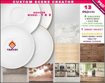 White Saucer | Photoshop Print Mockup S-1-2 | Custom Scene Creator | Gold trim | Fabric Wood Kitchen Table | Smart object Custom color