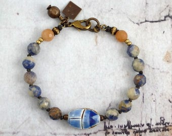 Egyptian scarab bracelet, Blue beetle jewelry, Sodalite and red aventurine, Unique jewelry gift, Handmade OOAK presents for her