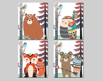 Woodland tribal nursery playroom printable set wall art bear fox owl squirrel and bird in the forest wall decor, kids room set download