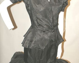 Vintage Black Jacquard Jacket with Peplum
