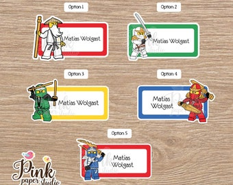 Lego Ninja School name labels • Labels for school • School labels • Stickers for kids • This belong to stickers • labels school supplies