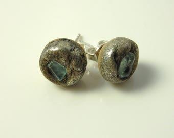Tiny fluorite stud earrings-resin earrings- sterling silver ear posts-raw stone ear studs- minimalistic earrings