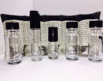 Mod Gray Essential Oil Roll, Oil Storage Insert, 5 Slot Doterra Travel Case, Young Living Oil Roll Up Carrier, Tall Roller Bottles