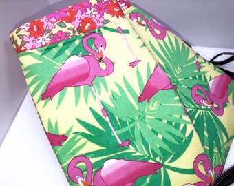 Flamingo Double Glasses Case, Soft Glasses Case, Double Pocket Sunglasses Pouch, Eyeglasses Organizer, Fabric Eyeglass Case