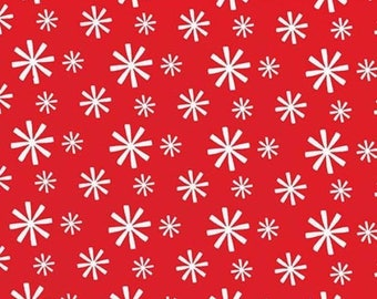 Dazzle White Sparkle Snowflake Stars on Watermelon Red by Michael Miller - DC7182-WATERMELON-D