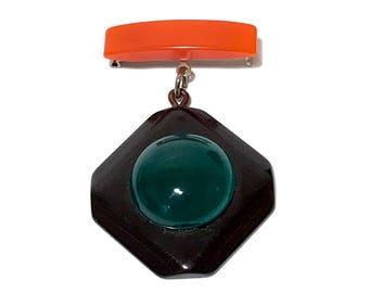 Bakelite Art Deco Brooch, Multi Color, Orange, Green, Black, Hanging Medallion, Vintage 1930s, Bakelite Bar Pin, Bakelite Jewelry, Vintage