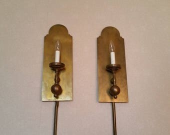 Vintage 1970u0027s Solid Lacquered Brass Wall Sconces Beautifully Hand Crafted  Mid Century Wick Works Wonderful Patina