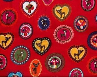 Bambi red Jersey fabric
