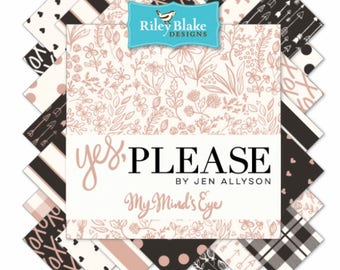 Fat Quarter Bundle Options Yes,Please by Jen Allyson of  My Minds Eye for Riley Blake Designs- 7 Fabrics each Bundle