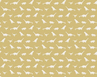 1 Yard Fossil Rim by Deena Rutter  for Riley Blake Designs-6614 Tiny Dino Yellow