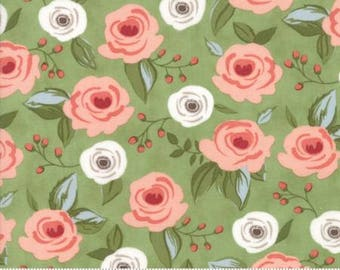 1 Yard Farmers Daughter by By Vanessa Goertzen of Lella Boutique for Moda- 5050-11 Painted Bouquet Green