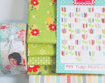 "Tulip Market Quilt Kit with Pattern in Flower Mill by Corey Yoder for Moda- Finished Size 68"" x 83"""
