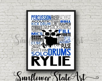 Personalized Drummer Typography Poster, Drummer Gift, Gift for Drummers, Percussion Art, Percussion Print, School Band Gift, Band Teacher