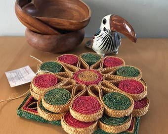 Trio of sweet woven straw trivets in pink green & blue flower designs for kitchen / basket wall in Boho or tropical Old Florida home!