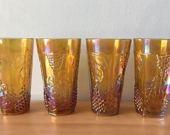 Stunning set of 4 Indiana Glass iridescent amber Carnival tumblers - raised grape leaf pattern for Boho Gothic or tropical Old Florida home!