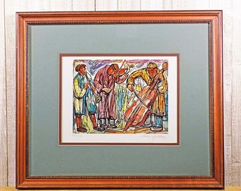 Chaim Goldberg '3 Klezmers' Limited Edition Lithograph 542/1000 Vintage Signed Shtetl Musicians Framed