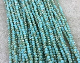 """2mm x 3mm Faceted AB Bi-Color Aqua/Gold Chinese Crystal Rondelle Shaped Beads - Sold by 16"""" Strands (Approx. 150 Beads) - (CC23-123)"""