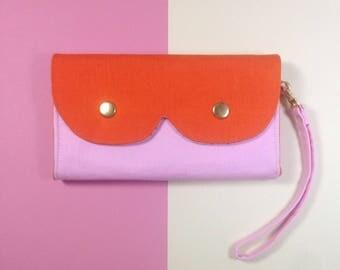 Boob Accordion Wallet, Clutch Bag with Wrist strap, Orange/pink