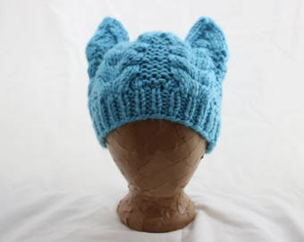 Hand Knitted Cat Ears Beanie - Dusty Blue Cabled