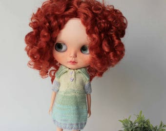 Blythe dress, Mint yellow knitted dress for doll, Blythe Summer clothes, Blythe knit outfit, Blythe mint clothes, Doll Short sleeve dress