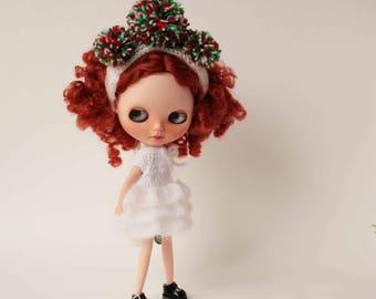 Christmas Blythe doll outfit, White Xmas Dress and Red Green White Headband with pompom for blythe, Mohair blythe dress, Short fluffy dress