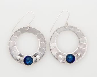 Sterling and Dichroic Glass Circle Earrings