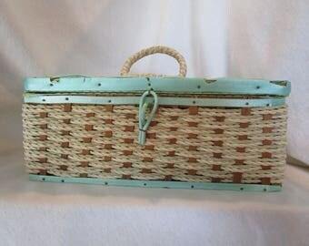 Wicker sewing box, Wicker sewing basket, Retro sewing decor, Green sewing decor, Mint green sewing basket, Small sewing box, Vintage sewing
