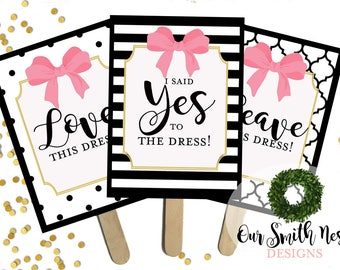 Say YES To The Dress Paddles - Wedding Dress Shopping Signs