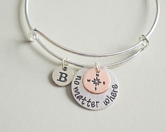 Long distance friendship bracelet,  no matter where bangle, compass charm bracelet, bff bracelet, friendship bangles, friendship jewelry