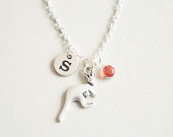 Kangaroo Necklace, Silver Kangaroo Necklace, Kangaroo Gift, Kangaroo Jewelry, Animal Necklace, Personalized Kangaroo, Kangaroo, Australia