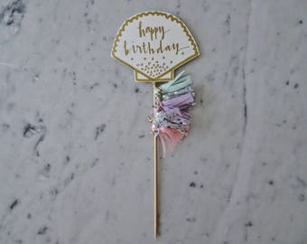 Clam Shell Cake Topper / Gold Modern Calligraphy / Custom Hand Lettered / Rainbow Pastel / Mini Tassels / First Birthday / Under The Sea