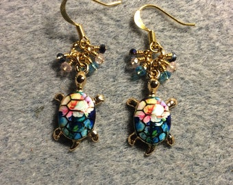 Turquoise, pink, and dark blue enamel turtle charm earrings adorned with tiny dangling turquoise, pink, and dark blue Chinese crystal beads.