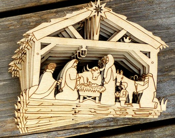 10x Wooden Nativity Manger Scene Craft Shape 3mm Ply Christmas Decoration