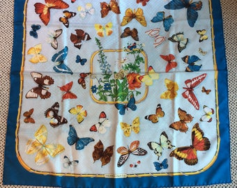 Authentic Hermes Silk Scarf Farandole Caty Latham Blue
