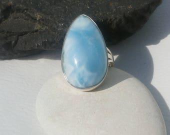Larimar Ring Handmade In Sterling Silver 925