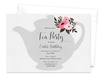 Tea Party Invitation, Floral Tea Pot, High Tea Invitation, Women's Birthday Invitation, Floral Tea Party Invitation, Tea Party Invite