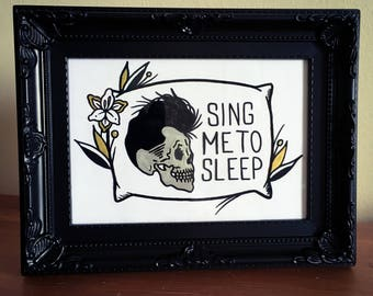 """Framed original 7"""" x 5"""" Morrissey inspired traditional tattoo Asleep glass painting"""