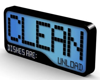 Reversible Double Sided Clean Dirty Dishwasher Magnet -Flip Sign - Super Strong Durable, Waterproof Dishwasher Magnet