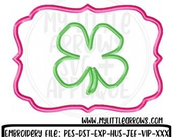 60% OFF SALE - Four leaf clover frame applique - st patricks applique - 5x7 6x10 applique - embroidery file - four leaf clover applique - lu