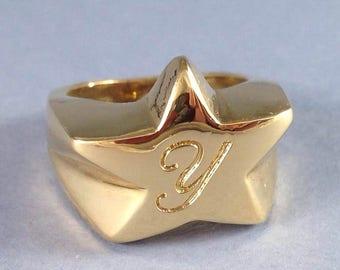 Initial Ring, Star Ring, Gold Custom Ring, Gold Personalized Ring, Gold Customized Ring, Gold Engraved Ring, Gold Letter Ring, Gift For Her